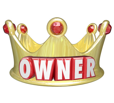 ownership and control: Owner word in red 3d letters on a gold crown to illustrate the power and control of propery or home ownership