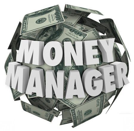 money sphere: Money Manager words in 3d letters on a ball or sphere of cash in hundred dollar bills as accounting or budgeting by a financial advisor or bookkeeper