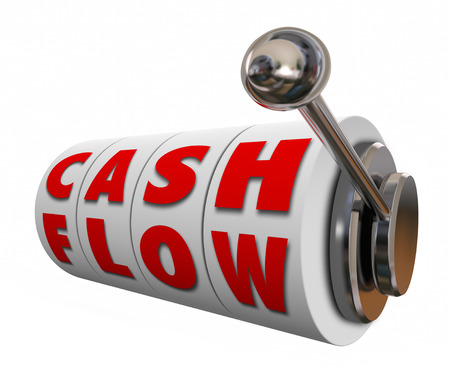 managing money: Cash Flow words on slot machine wheels or dials as money or income earned for your budget or finances