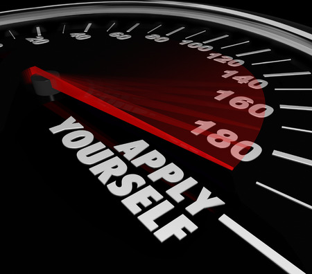 attempting: Apply Yourself words on a speedometer or gauge to measure the success level, outcome, results of your try or efforts