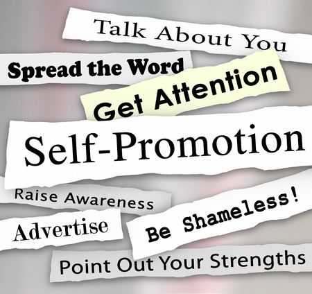 Self-Promotion words and phrases in torn or ripped newspaper headlines to illustrate getting marketing publicity or attention from an audience or customers Stock Photo
