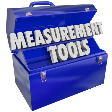 interpret: Measurement Tools words in 3d letters in a blue metal toolbox to gauge your performance level Stock Photo