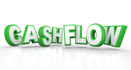 Cashflow word in 3d letters as a revenue stream of money or earnings for a job or business Stock Photo