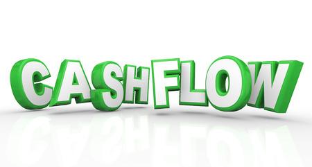 cashflow: Flujo de caja palabra en letras 3d como un flujo de ingresos de dinero o ganancias de un empleo o negocio