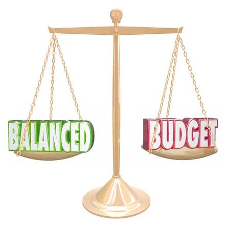 balanza: Balanced Budget palabras 3d en una escala de oro de los costos contra los ingresos en la contabilidad o contabilidad Foto de archivo