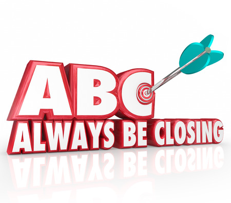 sales person: ABC Always Be Closing words in red 3d letters and an arrow hitting a target bulls-eye as sales advice to sell to more customers and close more client deals