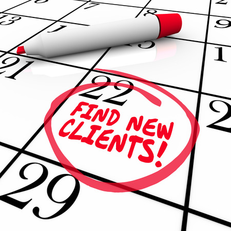 salespeople: Find New Customers words written on a calendar date or day with red marker Stock Photo
