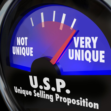 unique selling proposition: USP Unique Selling Proposition words on a guage or measurement tool measuring your level of special or different skills and abilities Stock Photo