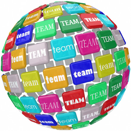 culture: Global Team word tiles around the world as international business workers joinging forces to complete a company objective or mission