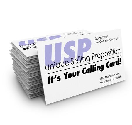 Unique Selling Proposition USP woorden op een stapel visitekaartjes en de woorden het is Uw Calling Stockfoto