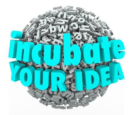 business model: Incubeer Uw Idee woorden in 3d letters op business model brainstormen en exploratie illustreren