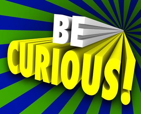Soyez mots 3d curieux pour illustrer une nature curieuse et quête de la connaissance et de l'information Banque d'images