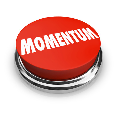 momentum: Red button with word Momentum on it to illustrate moving forward with progress toward success
