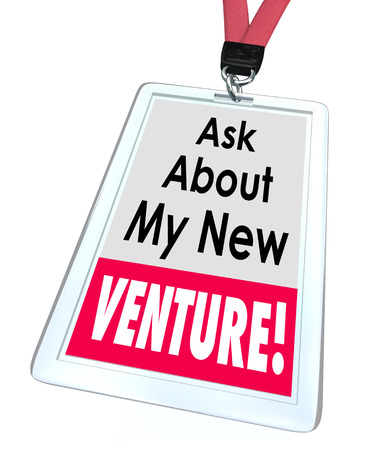 Ask About My New Venture words on a badge or name tag to illustrate a business startup or enterprise Stok Fotoğraf