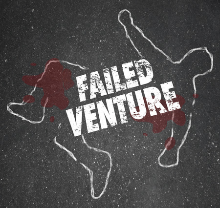 Failed Venture words on a chalk outline as a dead or killed unsuccessful startup business venture Stok Fotoğraf