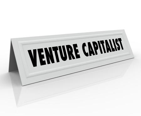 panelist: Venture Capitalist words on a name tent card for a startup funder, investor or finance person