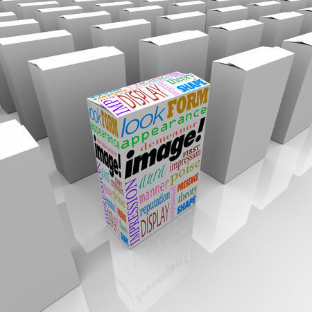 reputable: Image words on a product or package box standing out as a competitive advantage on store shelf with many competitors