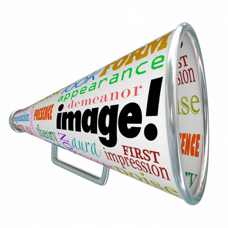 impression: Image word on a megaphone or bullhorn to illustrate making a good first impression with a positive impression