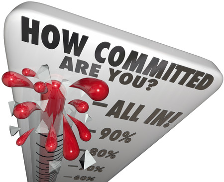 compromiso: Cómo comprometido está termómetro indicador de nivel para medir el compromiso y la determinación del nivel o cantidad