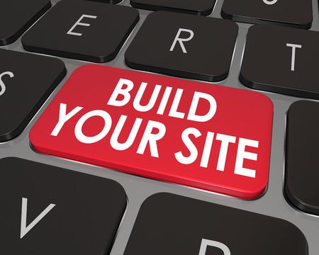 Build Your Site woorden op een toetsenbord van de computer toets of knop om online en webtools illustrtate om u te helpen uw eigen website te coderen Stockfoto - 32325957