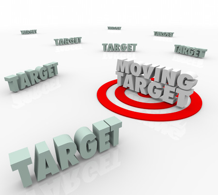 Moving Target 3d Words on a bullseye as an elusive location that keeps changing and you must find Stock Photo