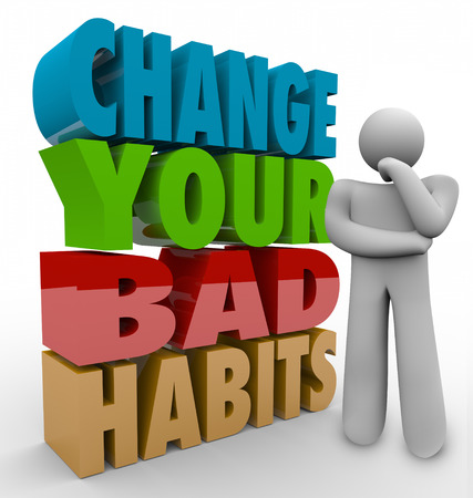 adapting: Change Your Bad Habits words in 3d letters beside a thinker wondering how to turn negative into positive routines and qualities Stock Photo