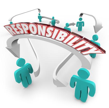 Verantwoordelijkheid 3d woord op pijlen verbinden van mensen in een werkplek of ogranziation als delegatie van het werk, taken of plichten van de ene werknemer naar een andere