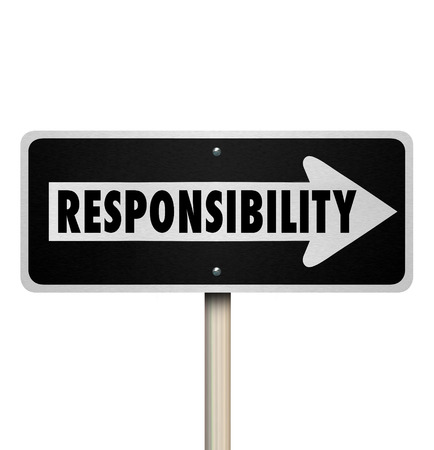 culpable: Responsibility word on a one way road sign pointing to someone you are passing a job, duty or work onto as in delegation
