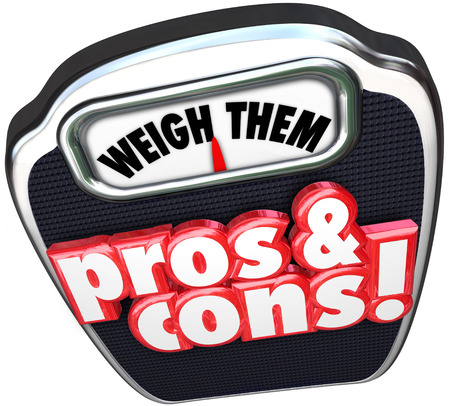 pro: Pros and Cons words on a scale to illustrate, weigh and compare the benefits and risks of a choice or option