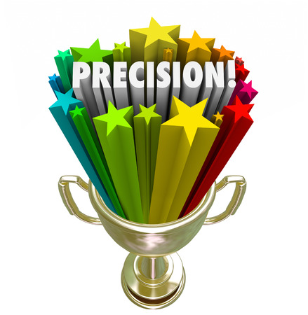 definite: Precision word in a gold trophy for the winner of a game or competition with best aim or accuracy in performance Stock Photo
