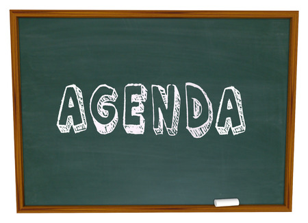 orderly: Agenda word written on a chalkboard as a to do list or syllabus for course work in a classroom for lesson or training Stock Photo