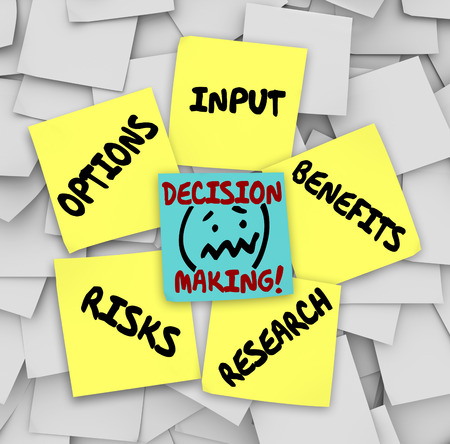 positives: Decision Making words on sticky notes surrounded by things to consider such as options, input, research, risks and benefits