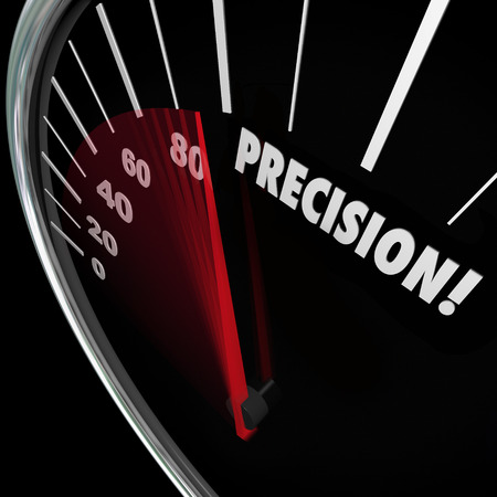Precision word on a speedometer to illustrate accuracy, perfect aim and targeting and achieving a goal or mission Фото со стока