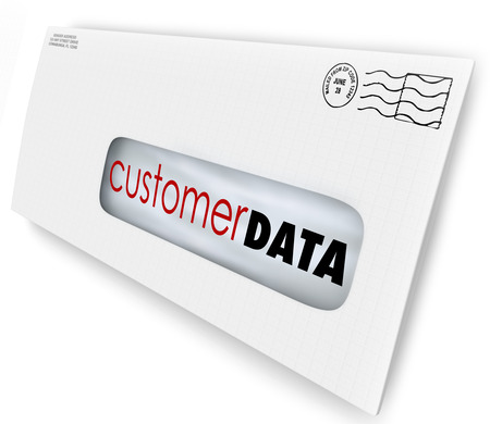 direct: Customer Data words on an envelope or direct marketing mailing to illustrate contact information or database of consumers and demographic information