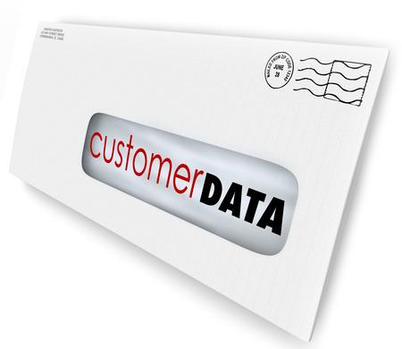 Klant gegevens woorden op een envelop of direct marketing mailing naar contactgegevens of database van consumenten en demografische informatie te illustreren