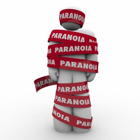 paranoia: L'uomo avvolto in nastro rosso con Paranoia parola come qualcuno che � preoccupato, ansioso, stressato o paura delle paure Archivio Fotografico
