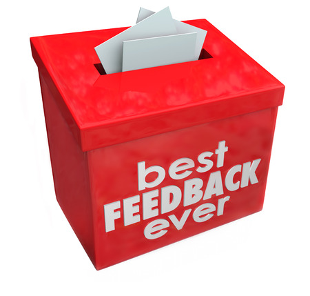 suggestion: Best Feedback Ever words on red suggestion box for great comments, input and ideas Stock Photo