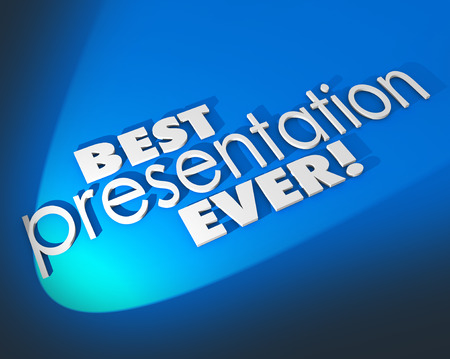 winning proposal: Best Presentation Ever words in 3d letters on blue background for a great presentation to an audience or customer