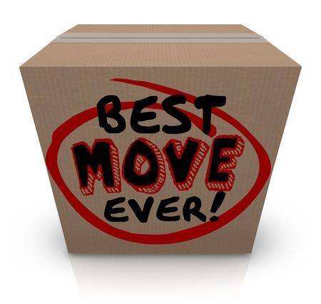 Best Move siempre palabras en una caja de cartón para ilustrar una buena experiencia móvil a un nuevo hogar o lugar de trabajo Foto de archivo
