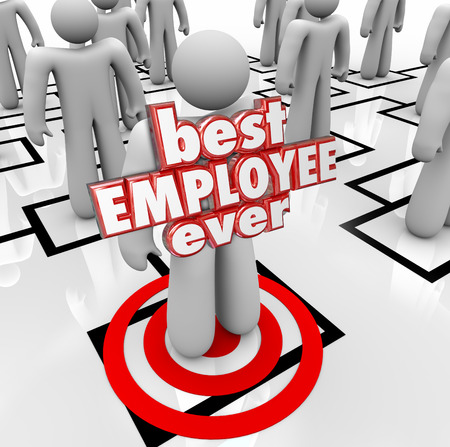 ever: Best Employee Ever words in red 3d letters on a person, worker or colleague on an org chart for a company or business evaluating its personnel