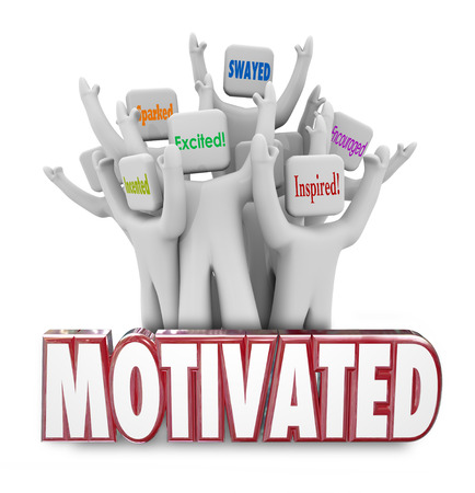 encouraged: Motivated 3d words and people cheering as they are inspired, encouraged or excited to act and achieve success Stock Photo