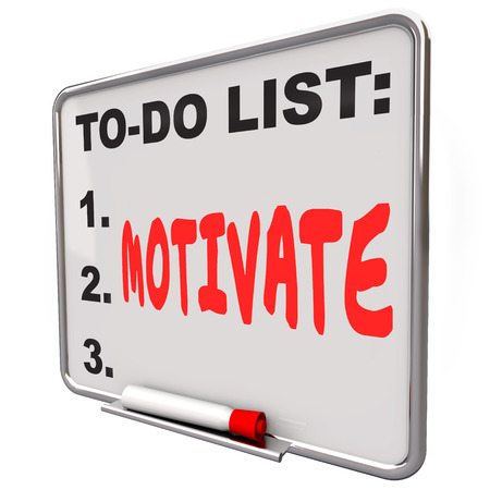 Motivate word written on a to-do list on a dry erase board to illustrate encouragement, inspiration and incentive to take action Stock Photo