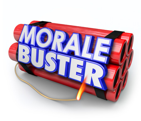 morale: Morale Buster 3d words on a bundle of dynamite sticks to illustrate poor motivation and discouragement Stock Photo
