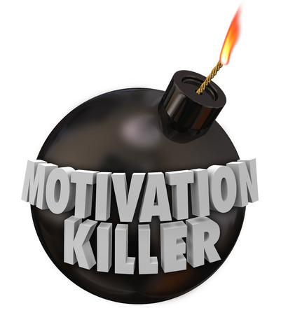 spurring: Motivation Killer 3d words on a round black bomb to illustrate discouragement and bad morale