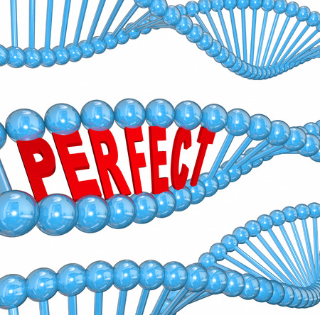 Perfect word in 3d letters in a DNA strand to illustrate hereditary good health and wellness running in the family photo