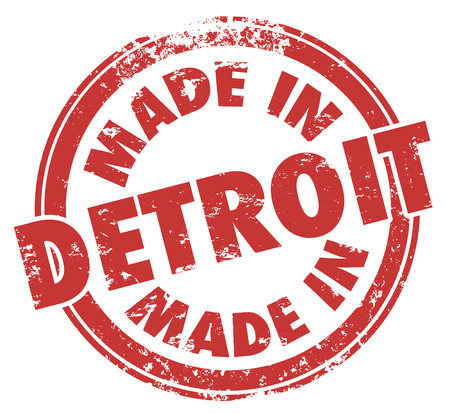 Made in Detroit words in a red round grunge stamp as a badge