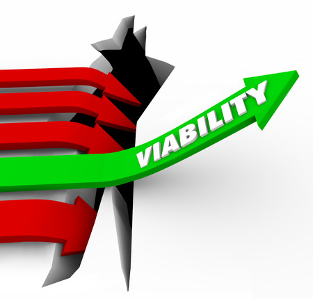 viability: Viability word on a green arrow jumping over a crack or hole to illustrate potential or possible success or achievement