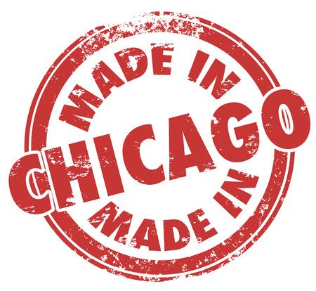 windy city: Hecho en palabras de Chicago en un sello redondo rojo para mostrar la producci�n y el orgullo de fabricaci�n en produts creados en la ciudad de los vientos en Illinois