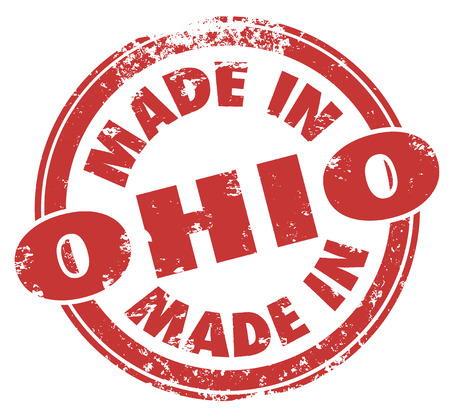 Made in Ohio words in round red stamp photo