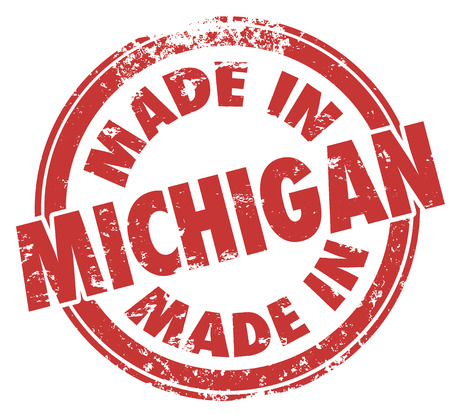 Made in Michigan words in a round red ink stamp as a badge